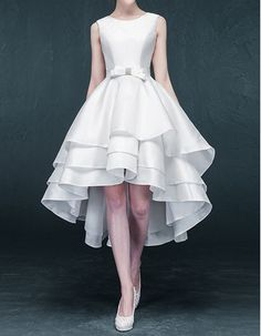 New Arrival Simple Princess High-Low Asymmetric Short Satin Tiered Wedding Dresses with Bow/ Discount Bride Gowns