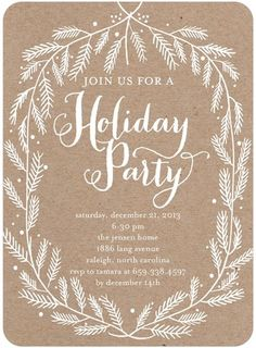 Crafted Branches - Flat Holiday Party Invitations in White Christmas Service, Christmas Holidays, Happy Holidays, Christmas Cards, Business Holiday Cards, Business Cards, Unique Invitations, Invitation Ideas, Invites