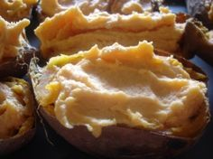Twice Baked Sweet Potatoes.  Bake and freeze.  Thaw overnight in the frig and reheat.