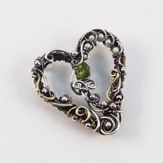 Heart Pendant with Peridot by Kristine Schroeder