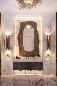 In this amazing project, each room tells a particular story lived by the owner, a young lady with a particular and vibrant way of living, like this amazing Diversity powder room. Contemporary Home Furniture, Contemporary Bathrooms, Luxury Bathrooms, Parisian Apartment, Apartment Interior, Luxury Interior Design, Bathroom Interior Design, Contemporary Classic, Contemporary Design
