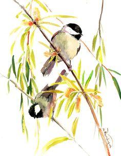 Chickadee son Willow  tree, Original watercolor painting, 15 x 12in, bird lover art