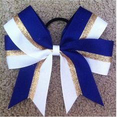 Adorable cheer bow #chieftains #blue and gold
