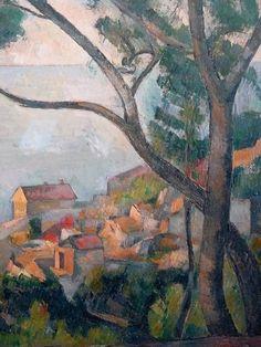 CEZANNE,1878-79 - Mer à l'Estaque, derrière les Arbres - Sea at l'Estaque (Musée Picasso) - Detail -j : « Il y a des motifs qui demanderaient trois ou quatre mois de travail, qu'on pourrait trouver, car la végétation n'y change pas. Ce sont des oliviers et des pins qui gardent toujours leurs feuilles…. » (CEZANNE à Pissarro, L'Estaque, 2 juillet 1876)