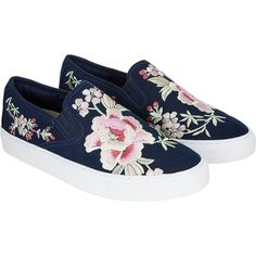 Monsoon Fifi Floral Folk Embroidery Trainers (€71) ❤ liked on Polyvore featuring shoes, sneakers, embroidered shoes, pull on sneakers, flower print shoes, floral shoes and floral pattern shoes