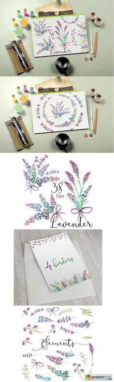 Lavender watercolor clipart flower  stock images