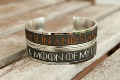c14b0db33 Game of Thrones Gifts Game of Thrones Jewelry Gift for Couples Bracelet  Khal and Khaleesi Cuff Moon of My Life My Sun and Stars Couples Gift