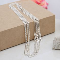 New Charms Fashion Jewellery 925 Sterling Silver Flat Link Chain 16-30  5/10pcs