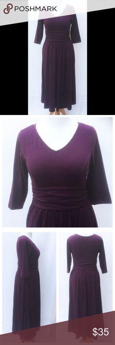 "New Eshakti Purple Fit & Flare Midi Dress L 12 14 New Eshakti plum purple knit fit & flare midi dress. Custom size L 12/14  Measuremed flat: underarm to underarm: 36"" Waist: 31"" Sleeve: 17"" Length: 50"" V neck, princess seamed bodice, ruched gathered waist, hidden side zipper, side seam pockets, bracelet length sleeves. Ruched pleated flared midi skirt.  Cotton/spandex, woven jersey knit, light stretch. Machine wash . New w/ cut out Eshakti tag to prevent returning to Eshakti eshakti Dresses…"