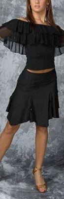 Black Hankerchief Hem Salsa Skirt