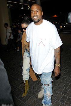 Kanye West wearing Yeezy 950