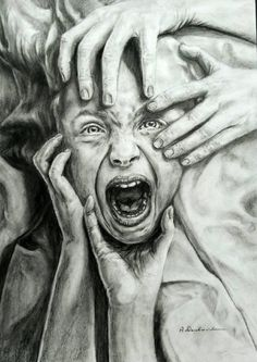 by on DeviantArt Horror Art, Art Painting, Emotional Art, Gcse Art Sketchbook, Sketches, Art Projects, Art, Dark Art Drawings, Pencil Art Drawings