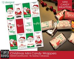 Christmas mini candy bar wrappers with 12 different designs