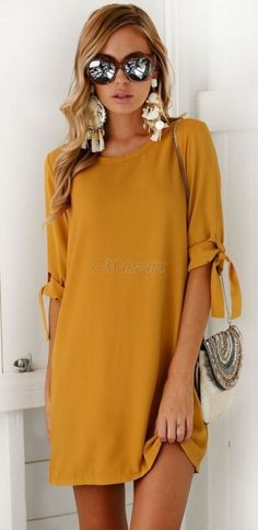#Summer #Outfits / Gold Mini Dress