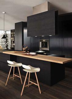 Cocina negra, gran estilo y diseño.