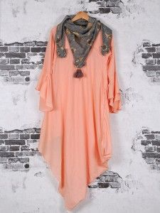 Shop Peach color casual cotton kurti online from India. Stylish Dresses For Girls, Stylish Dress Designs, Tunic Designs, Kurta Designs, Designer Kurtis Online, Party Wear Indian Dresses, Fashion Vocabulary, Modest Wear, Short Mini Dress