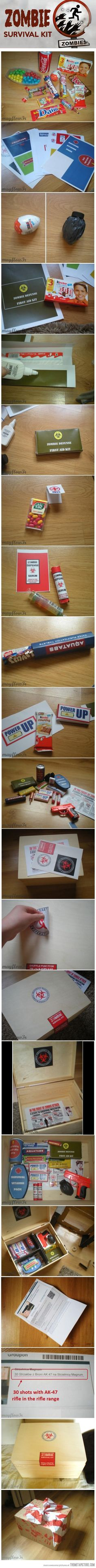 """Amazing zombie survival kit gift box this would even be a good idea for a """"first aid"""" kit"""