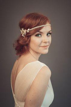 1920s wedding headpiece - Bridal hairpiece - Gatsby headpiece - Bohemian headpiece - Gold headpiece by floraljewellery on Etsy
