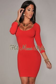 Red Round Neck Seamless Perfect Fit Three Quarter Sleeves Dress