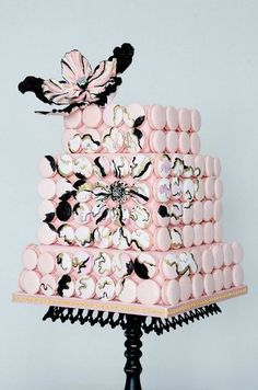 Pink, white and black cake.