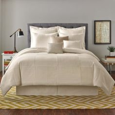 $179 Real Simple® Linear Patchwork Comforter Set in Stone - BedBathandBeyond.com