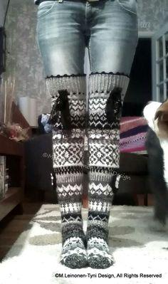 Ylipolvensukat, villasukka, overknee woolsocks, kirjoneulesukat, Fair Isle, My own design