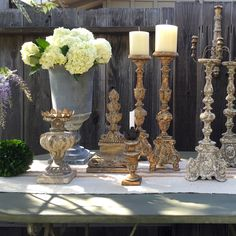 """The Aidan Gray Carbon Candlestick is European inspired to create a timeless architectural element, classically aged to perfection. 7.1""""""""W x 7.1""""""""D x 21.26""""""""H Hand crafted items are intended to be one"""