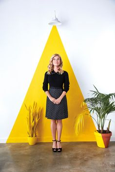 Reese Witherspoon wearing Draper James Collection Dot Jacquard Skirt in Black and Markus Lupfer Lucie Studded Collar Jumper in Black Reese Witherspoon, Yellow Office, Cafe Interior Design, Boutique Interior, Hello Sunshine, Office Interiors, Interior Office, Office Decor, Store Design