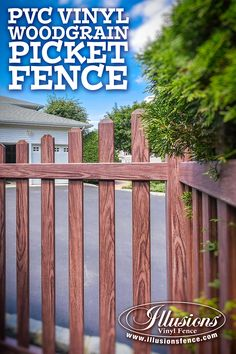 Need a cool picket fence idea? Try PVC vinyl wood grain @illusionsfence. Shown here in the incredibly popular Grand Illusions Vinyl WoodBond Walnut (W103) grain. Looks like a stained wood fence without the maintenance. #fenceideas