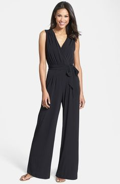 Also comes in navy.   Vince Camuto Faux Wrap Jersey Jumpsuit available at #Nordstrom