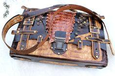 4lapki Портфель натуральная кожа стимпанк крокодил ручная работа / leather handbag genuine crocodile briefcase handmade leatherwork