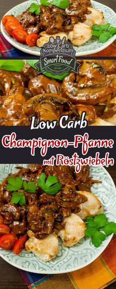 Champignon-Pfanne mit Röstzwiebeln & Hähnchenbrust – Ein so genial schnelles u… Mushroom pan with roasted onions & chicken breast – A brilliantly fast and easy to prepare low-carb recipe 🙂 Food Paleo Recipes, Low Carb Recipes, Quick Recipes, Roasted Onions, Fried Onions, Onion Chicken, Paleo Dinner, Low Carb Diet, Chicken Recipes