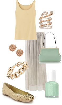 """pastel gold"" by mollylsanders on Polyvore"