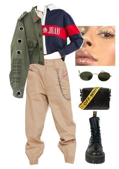 """Untitled #8088"" by ijustlikefashionman ❤ liked on Polyvore featuring I.AM.GIA, Tommy Hilfiger, Dr. Martens, Off-White and Ray-Ban"