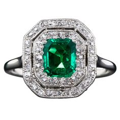 Antique Emerald and Diamond Ring