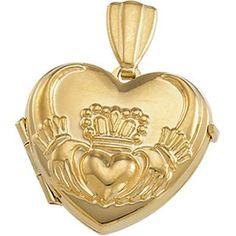 Gold 15Mm Heart Claddagh Locket