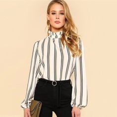Sheinside White Striped Stand Collar Elegant Tops Office Ladies Workwear  Long Sleeve Regular Fit Women Autumn Blouses  f1c4caf0a
