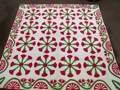 Antique Quilt Hand Stitched Hand Quilted Applique Red Green Flower Wheel Spoke | eBay, tiques-r-us