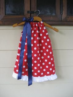 Red Polka Dot Pillowcase Dress with Navy Ribbon - sizes 3m to 6T......PERFECT FOR OLE MISS FANS, COLLEGE FOOTBALL SEASON, AND 4TH OF JULY