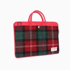 Sweetch slim briefcase red x Harris tweed