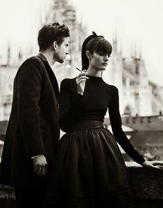Sam Rollinson and Ondrey in Love in the 60s Fashion by Nikolay Biryukov for Elle Ukraine September 2012