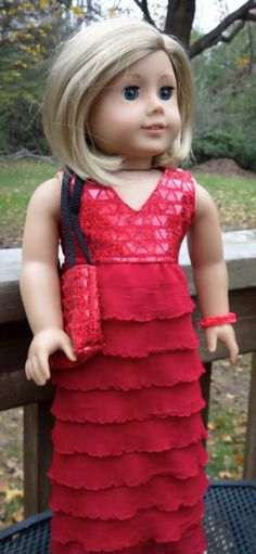Red Ruffled Long Dress by buttonandbowboutique on Etsy, $24.00