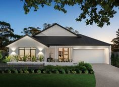 Explore The Yarra new home design & floorplan by Porter Davis. The Yarra is a single storey, 4 bedroom, 2 bathroom, 33 square house floorplan. Explore this house design today. Cottage House Designs, 4 Bedroom House Designs, Bedroom House Plans, Single Storey House Plans, One Storey House, Single Floor House Design, House Front Design, Stone Exterior Houses, Front House Landscaping