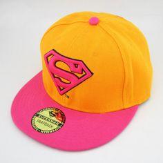 New Dc Superman hiphop Snapback Adjustable Yellow Pink baseball cap hat flat bead0a45bef