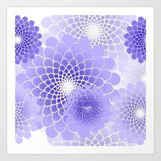 Rainforest Flower pattern - Purple Art Print by Glimmersmith - $17.68