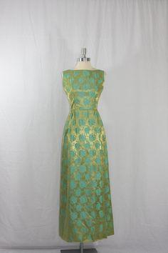 1950's Vintage Full Length Dress  Gold and by VintageFrocksOfFancy, $160.00