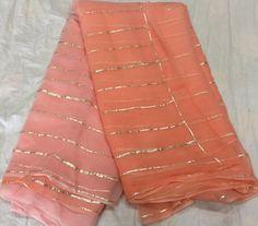Pure Chiffon Gota Stripes Saree
