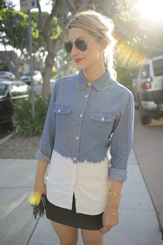 love this dip-dyed chambray shirt @Emily Schuman / Cupcakes and Cashmere's wearing. i should DIY it.