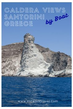 Santorini, Greece is famous for its cliffside towns and caldera views. While the birdseye view is fantastic, it's worth it to explore the island from the water as well!   www.eatworktravel.com