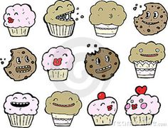 Dessert with cartoon faces on it   Sweet Treats Illustrations Stock Photography - Image: 21323142